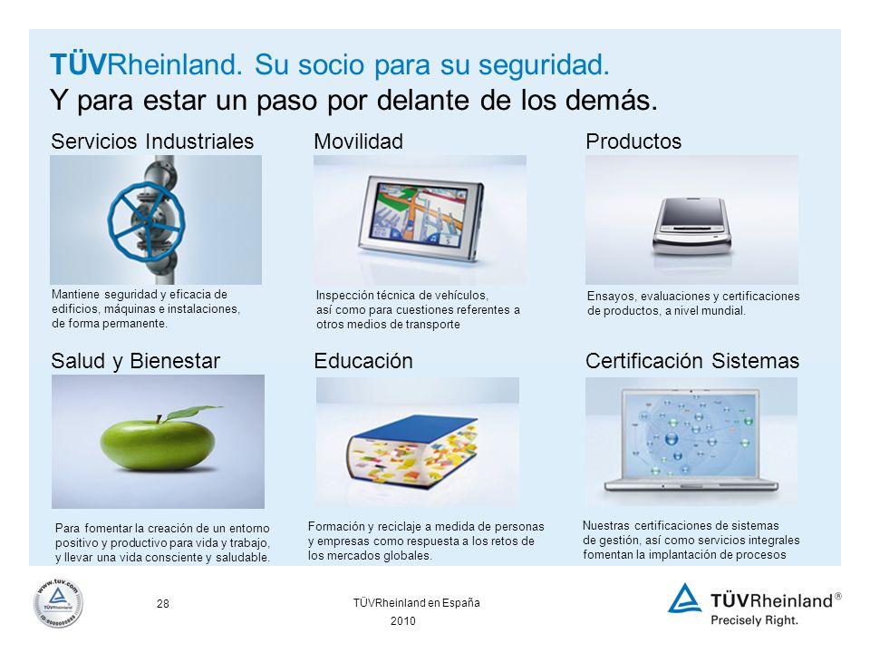 28 2010 TÜVRheinland en España TÜVRheinland. Su socio para su seguridad.