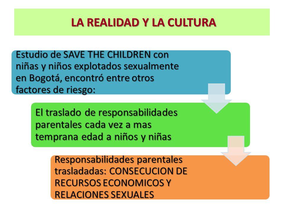 LA REALIDAD Y LA CULTURA LA REALIDAD Y LA CULTURA Estudio de SAVE THE CHILDREN con niñas y niños explotados sexualmente en Bogotá, encontró entre otro