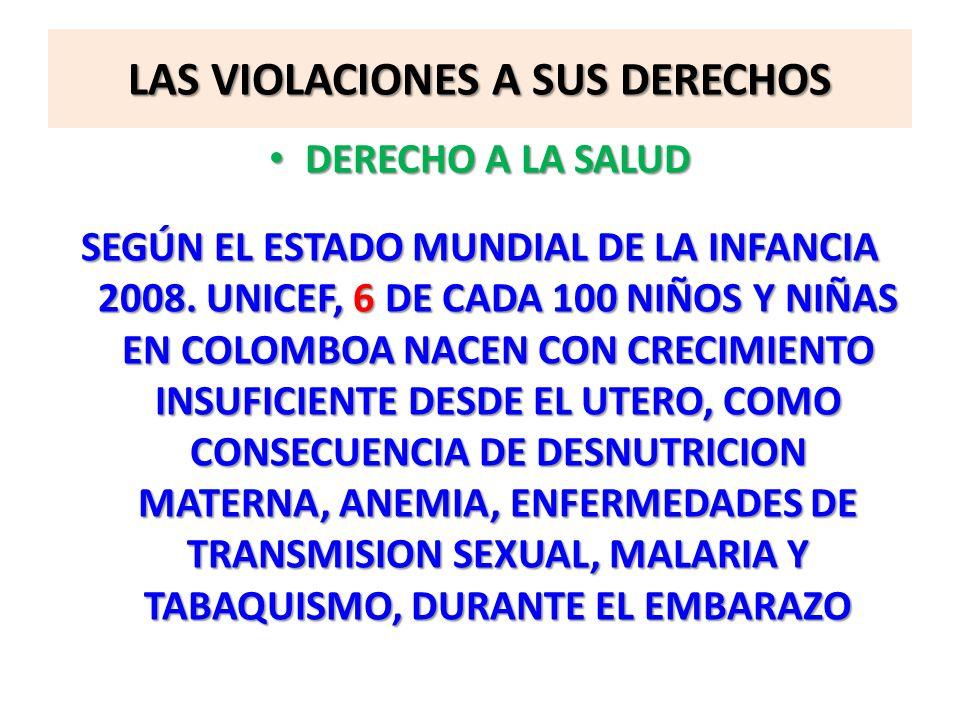LAS VIOLACIONES A SUS DERECHOS DERECHO A LA SALUD DERECHO A LA SALUD SEGÚN EL ESTADO MUNDIAL DE LA INFANCIA 2008. UNICEF, 6 DE CADA 100 NIÑOS Y NIÑAS