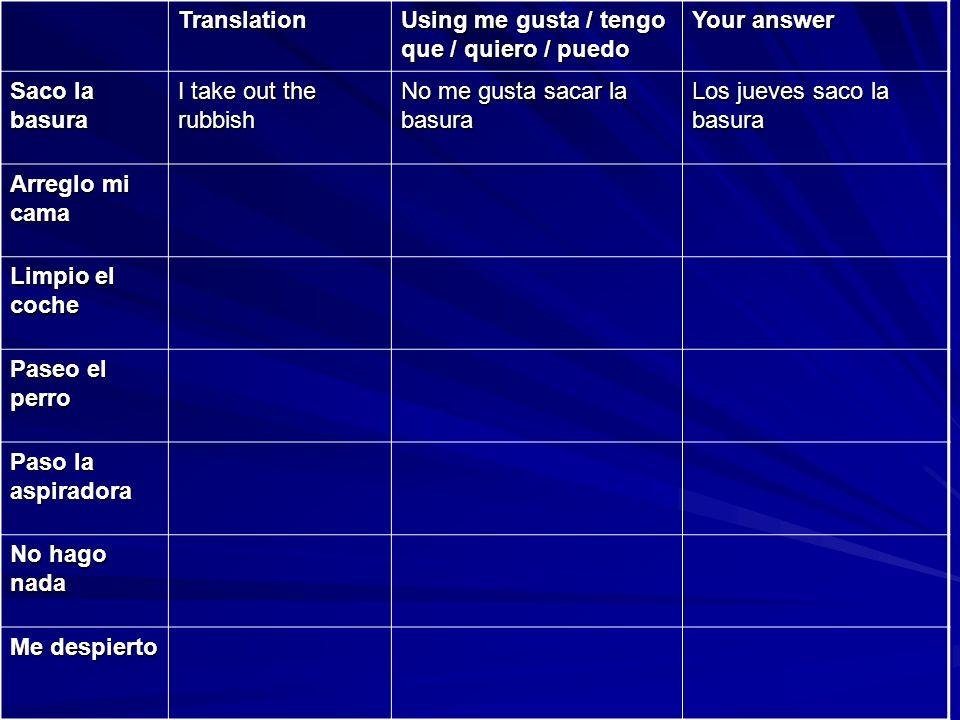 Translation Using me gusta / tengo que / quiero / puedo Your answer Me levanto Me ducho Me visto Me peino Desayuno Me lavo los dientes Salgo de casa