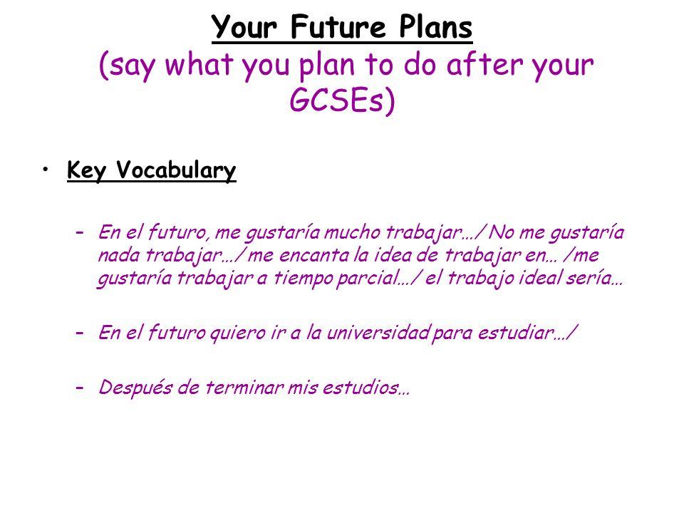 Your Future Plans (say what you plan to do after your GCSEs) Key Vocabulary –En el futuro, me gustaría mucho trabajar…/ No me gustaría nada trabajar…/
