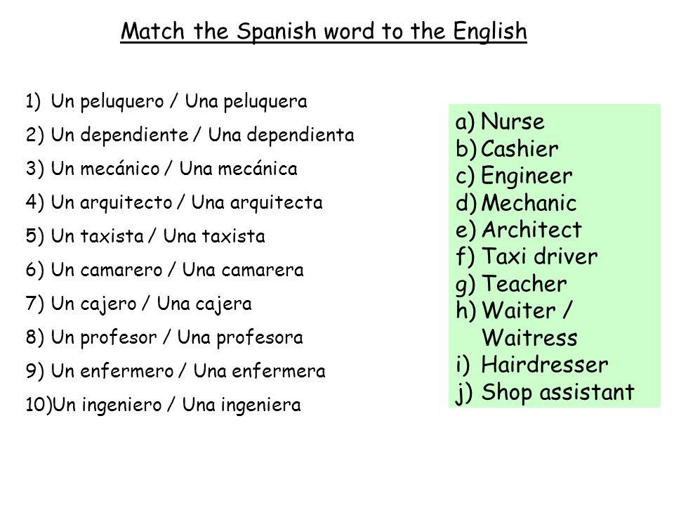 Match the Spanish word to the English 1)Un peluquero / Una peluquera 2)Un dependiente / Una dependienta 3)Un mecánico / Una mecánica 4)Un arquitecto /