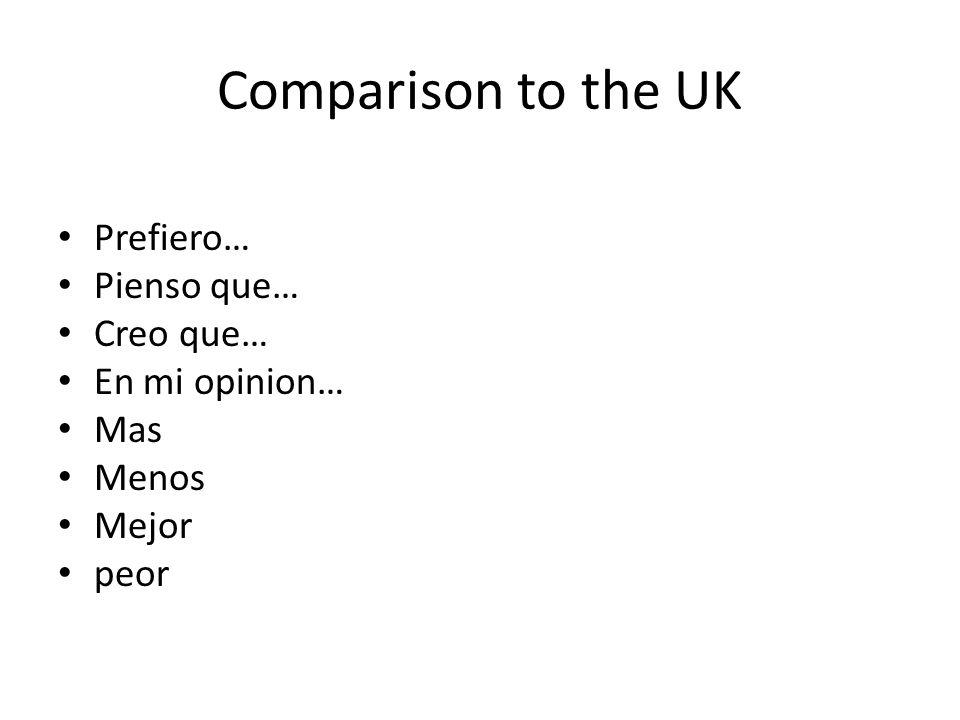 Comparison to the UK Prefiero… Pienso que… Creo que… En mi opinion… Mas Menos Mejor peor