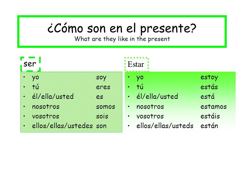 ¿Cómo son en el presente? What are they like in the present yo soy tú eres él/ella/usted es nosotros somos vosotros sois ellos/ellas/ustedesson yo est