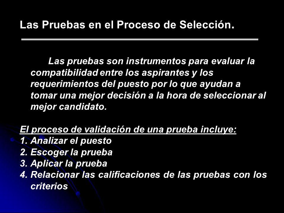 Las Pruebas en el Proceso de Selección. Las pruebas son instrumentos para evaluar la compatibilidad entre los aspirantes y los requerimientos del pues