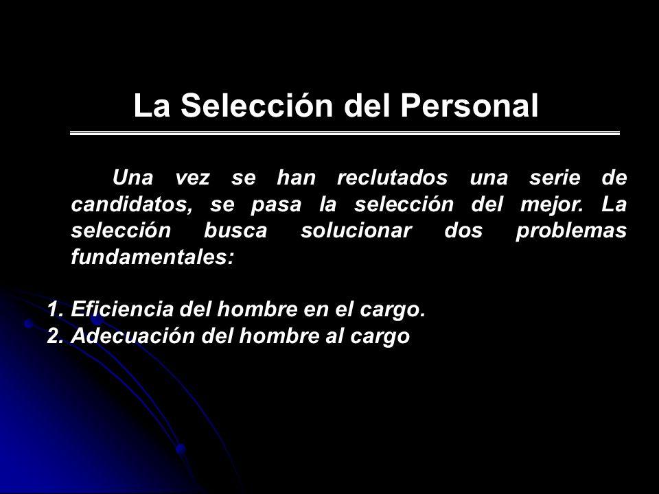 La Selección del Personal Una vez se han reclutados una serie de candidatos, se pasa la selección del mejor. La selección busca solucionar dos problem
