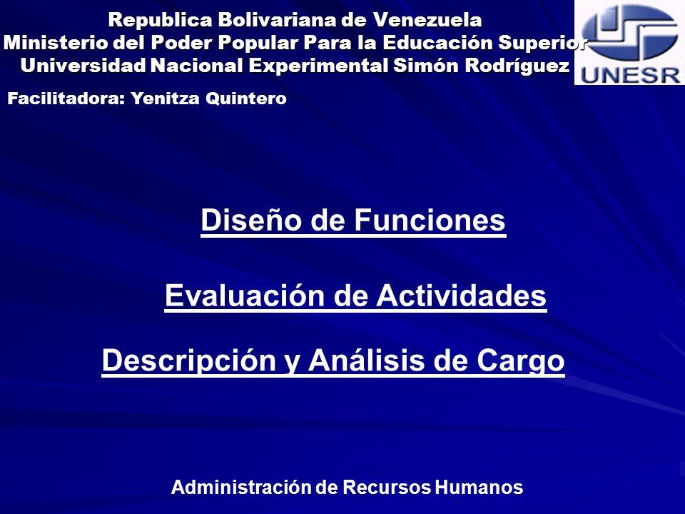 Diferencia entre Descripción y análisis de Cargo.Descripción de Cargo.