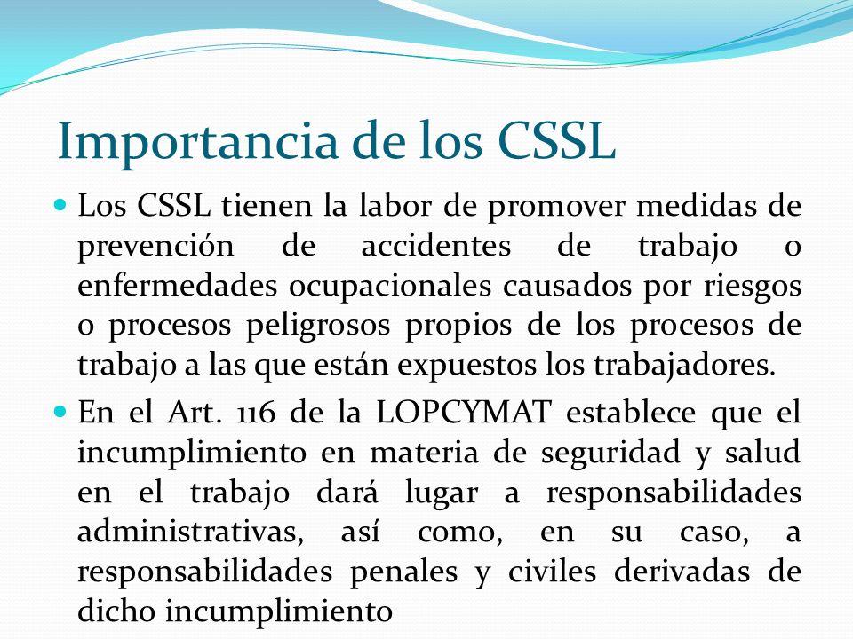 Importancia de los CSSL Los CSSL tienen la labor de promover medidas de prevención de accidentes de trabajo o enfermedades ocupacionales causados por