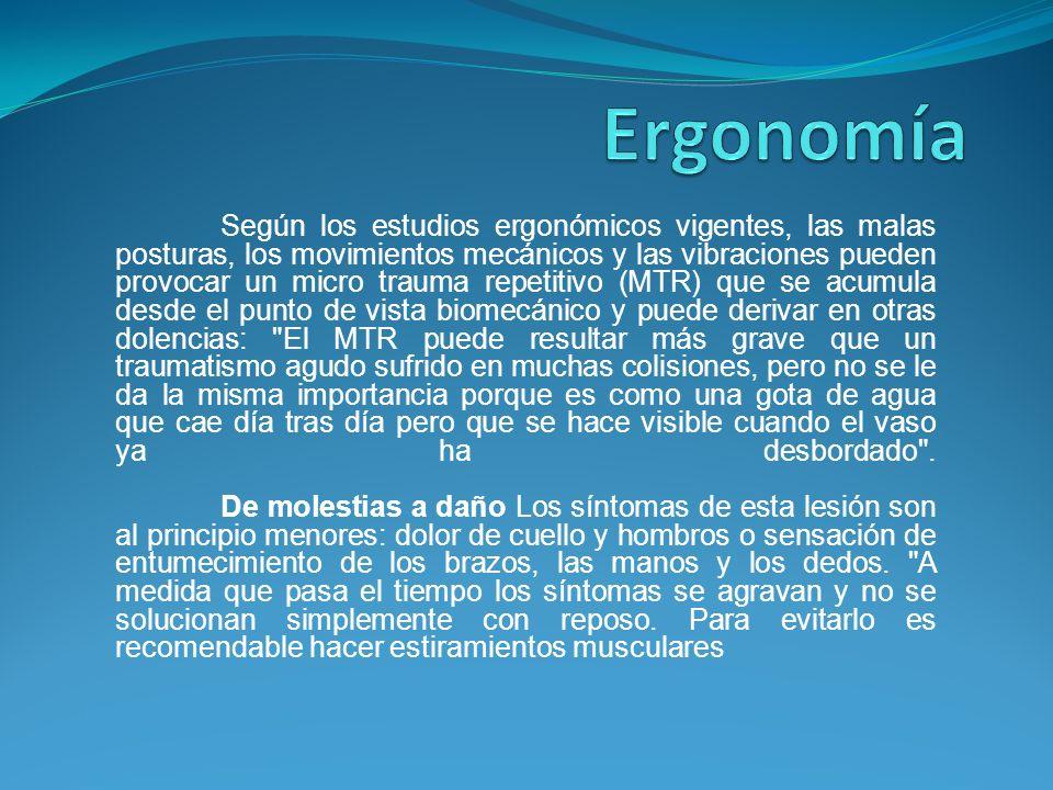 Según los estudios ergonómicos vigentes, las malas posturas, los movimientos mecánicos y las vibraciones pueden provocar un micro trauma repetitivo (M