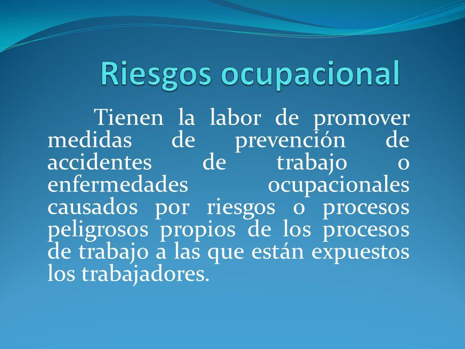 Tienen la labor de promover medidas de prevención de accidentes de trabajo o enfermedades ocupacionales causados por riesgos o procesos peligrosos pro