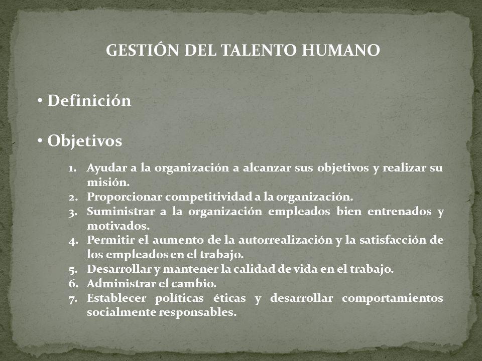 GESTIÓN DEL TALENTO HUMANO Definición Objetivos 1.Ayudar a la organización a alcanzar sus objetivos y realizar su misión. 2.Proporcionar competitivida