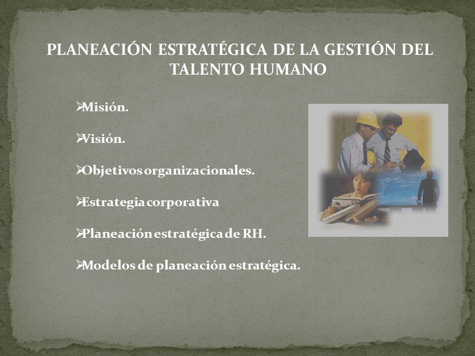 PLANEACIÓN ESTRATÉGICA DE LA GESTIÓN DEL TALENTO HUMANO Misión. Visión. Objetivos organizacionales. Estrategia corporativa Planeación estratégica de R