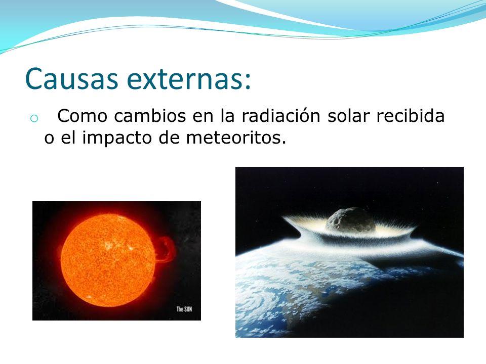 Causas externas: o Como cambios en la radiación solar recibida o el impacto de meteoritos.
