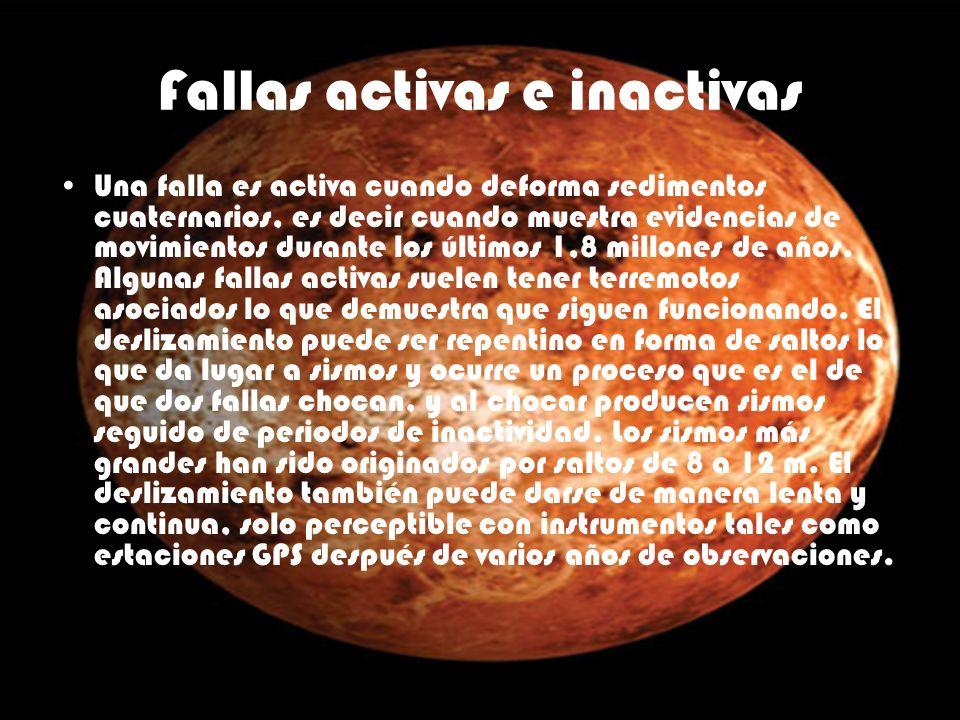 Fallas activas e inactivas Una falla es activa cuando deforma sedimentos cuaternarios, es decir cuando muestra evidencias de movimientos durante los ú