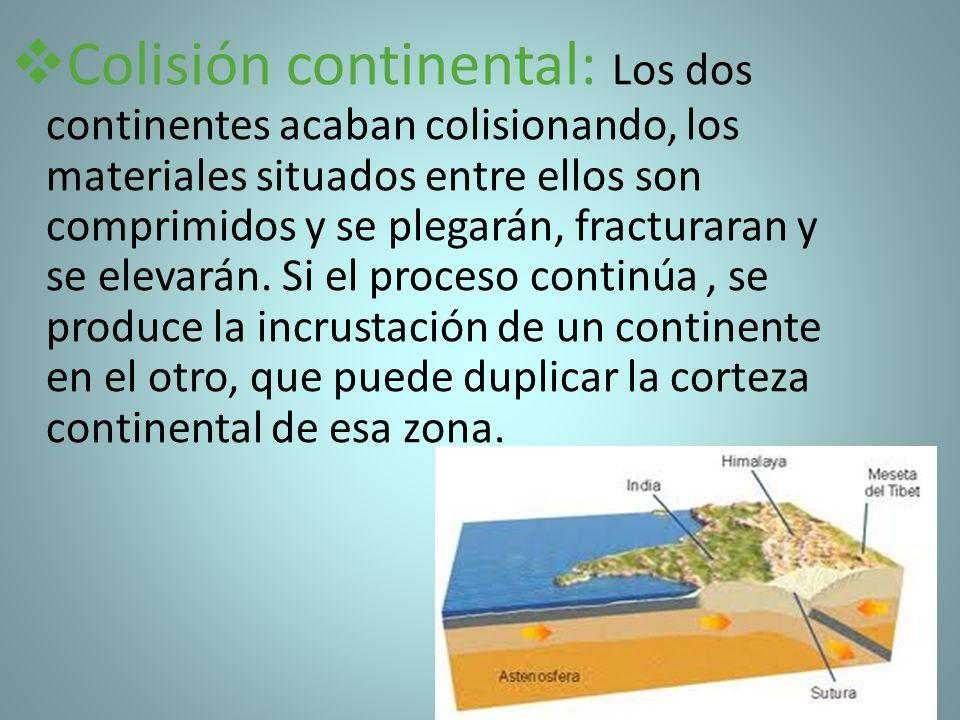 Colisión continental: Los dos continentes acaban colisionando, los materiales situados entre ellos son comprimidos y se plegarán, fracturaran y se ele
