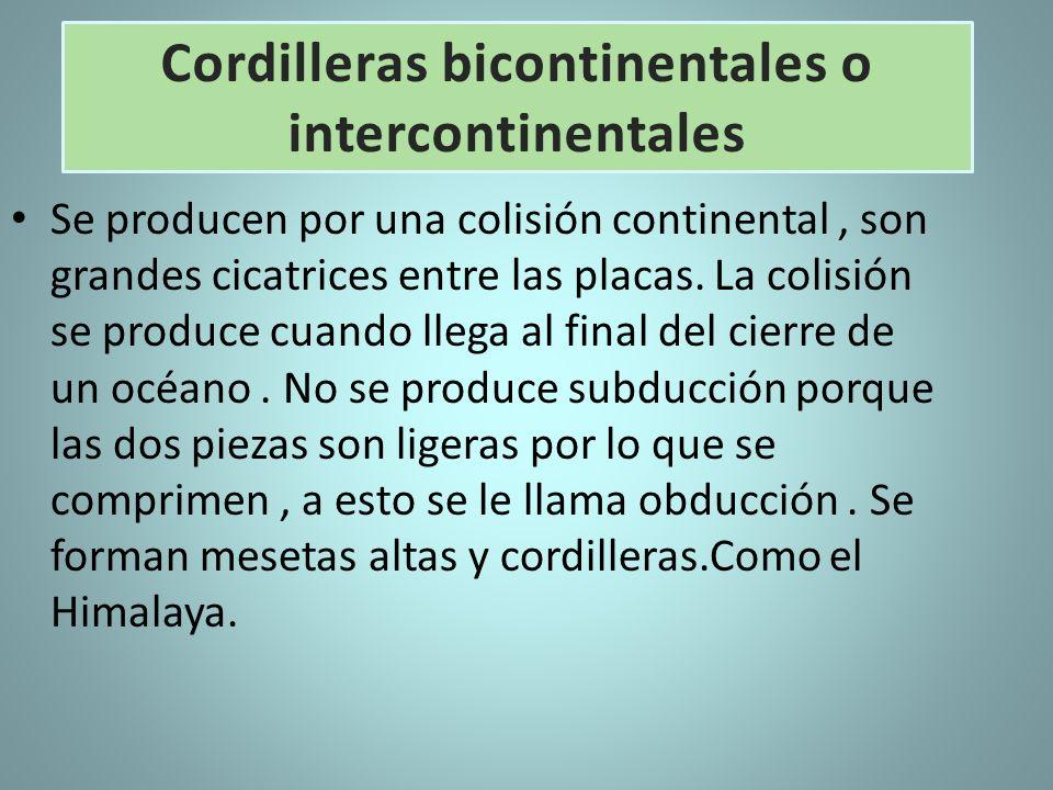 Se producen por una colisión continental, son grandes cicatrices entre las placas. La colisión se produce cuando llega al final del cierre de un océan