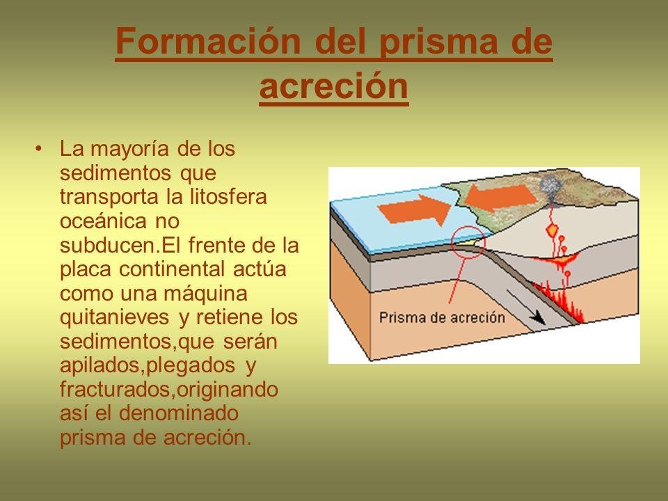Formación del prisma de acreción La mayoría de los sedimentos que transporta la litosfera oceánica no subducen.El frente de la placa continental actúa