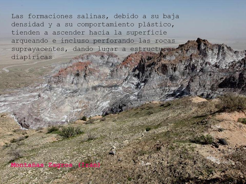 Montañas Zagros (Irán) Las formaciones salinas, debido a su baja densidad y a su comportamiento plástico, tienden a ascender hacia la superficie arque