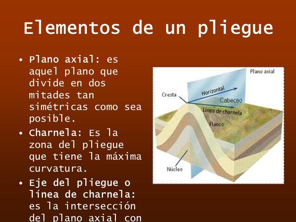 Elementos de un pliegue Plano axial: es aquel plano que divide en dos mitades tan simétricas como sea posible. Charnela: Es la zona del pliegue que ti