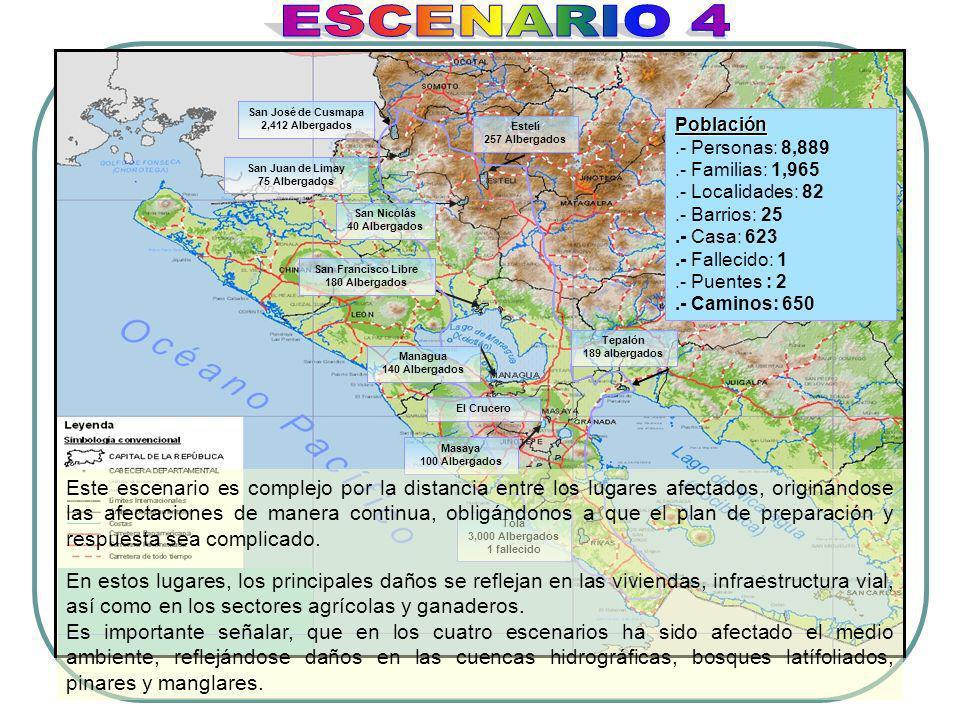San José de Cusmapa 2,412 Albergados San Juan de Limay 75 Albergados San Francisco Libre 180 Albergados Población Población.- Personas: 8,889.- Famili