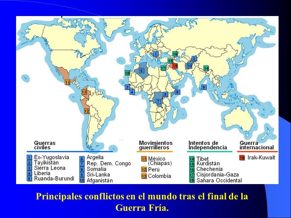 Principales conflictos en el mundo tras el final de la Guerra Fría.