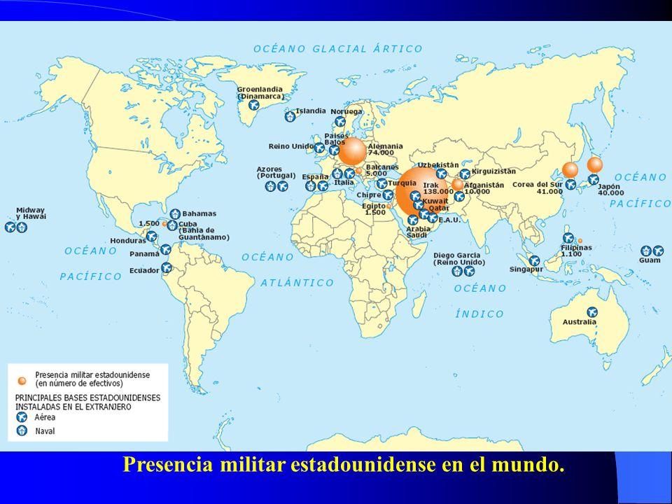 Presencia militar estadounidense en el mundo.