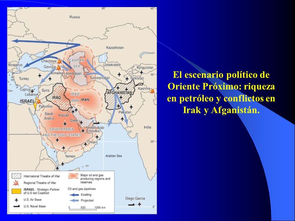 El escenario político de Oriente Próximo: riqueza en petróleo y conflictos en Irak y Afganistán.