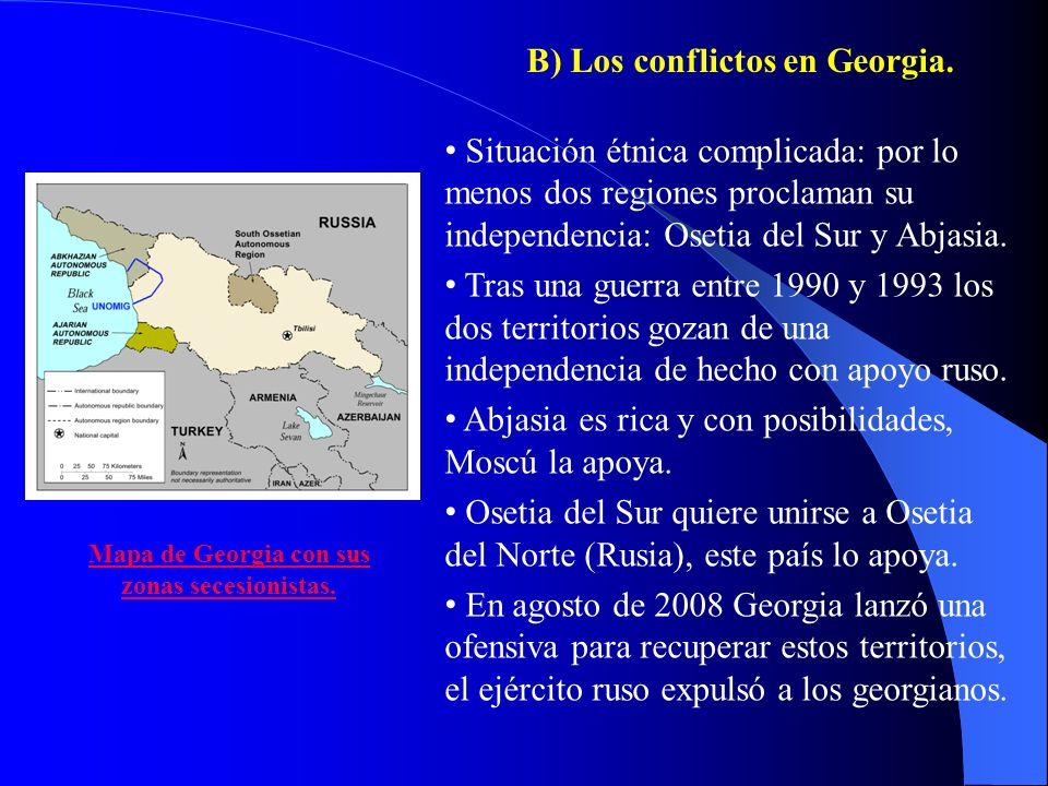 B) Los conflictos en Georgia.