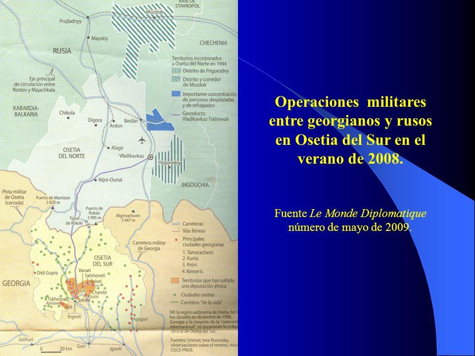 Operaciones militares entre georgianos y rusos en Osetia del Sur en el verano de 2008.