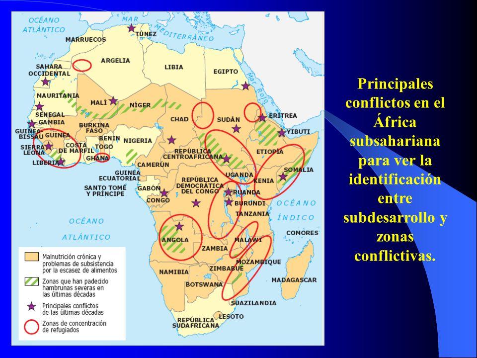 Principales conflictos en el África subsahariana para ver la identificación entre subdesarrollo y zonas conflictivas.