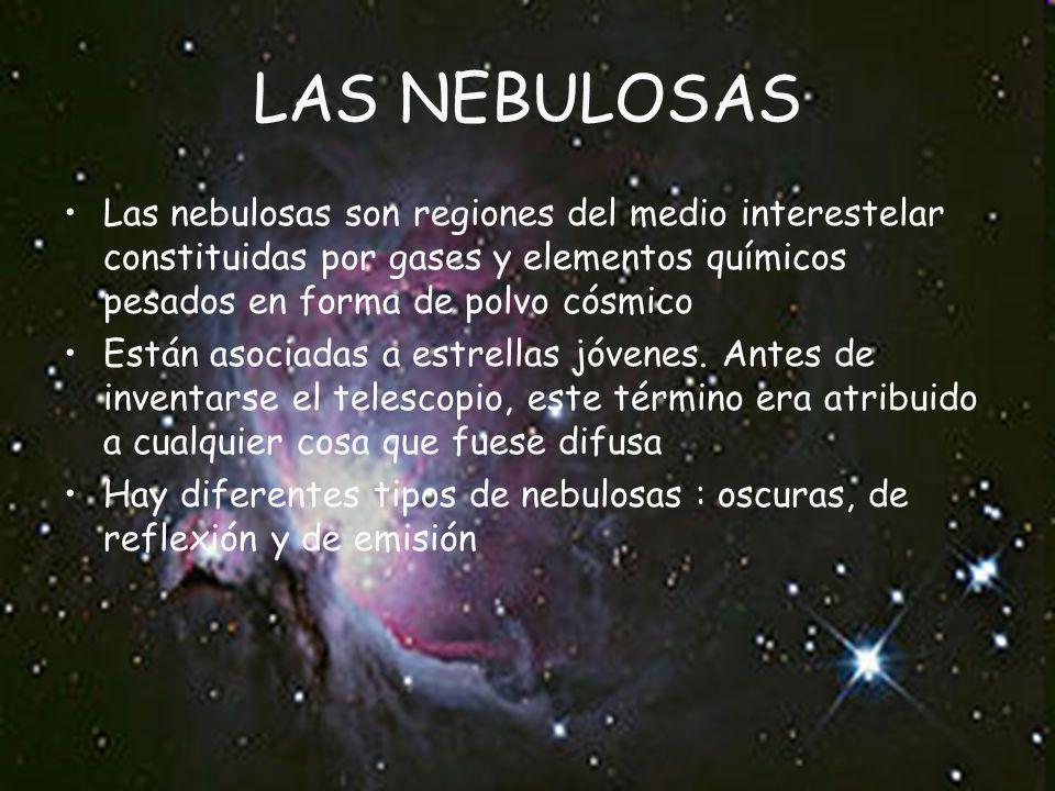LAS NEBULOSAS Las nebulosas son regiones del medio interestelar constituidas por gases y elementos químicos pesados en forma de polvo cósmico Están asociadas a estrellas jóvenes.