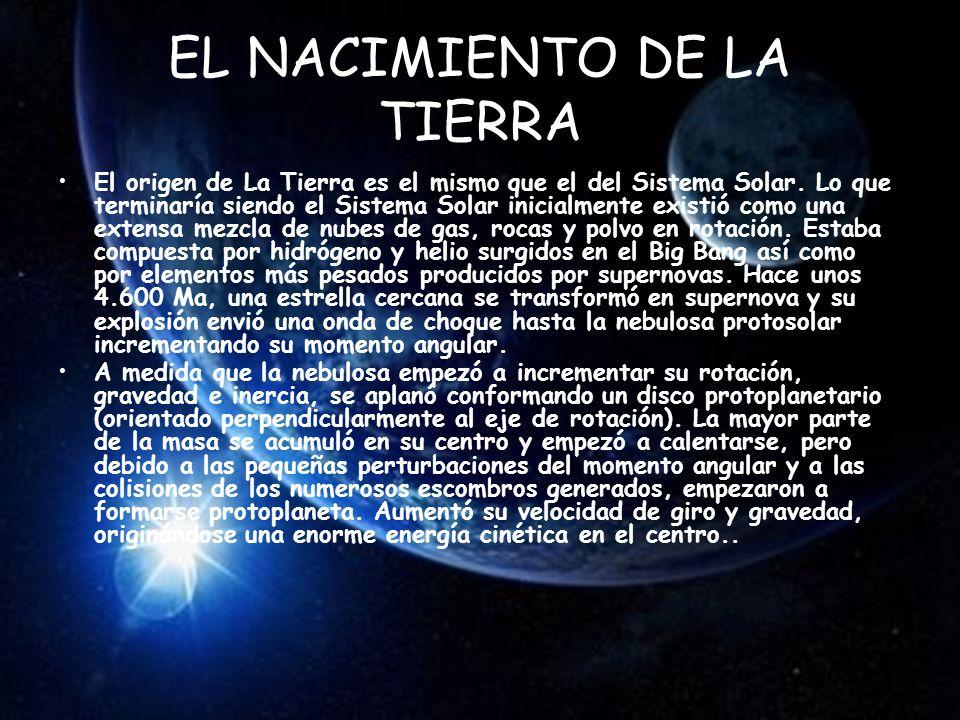 EL NACIMIENTO DE LA TIERRA El origen de La Tierra es el mismo que el del Sistema Solar.