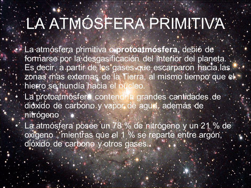 LA ATMÓSFERA PRIMITIVA La atmósfera primitiva o protoatmósfera, debió de formarse por la desgasificación del interior del planeta.
