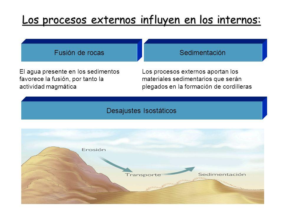 Los procesos externos influyen en los internos: SedimentaciónFusión de rocas El agua presente en los sedimentos favorece la fusión, por tanto la activ