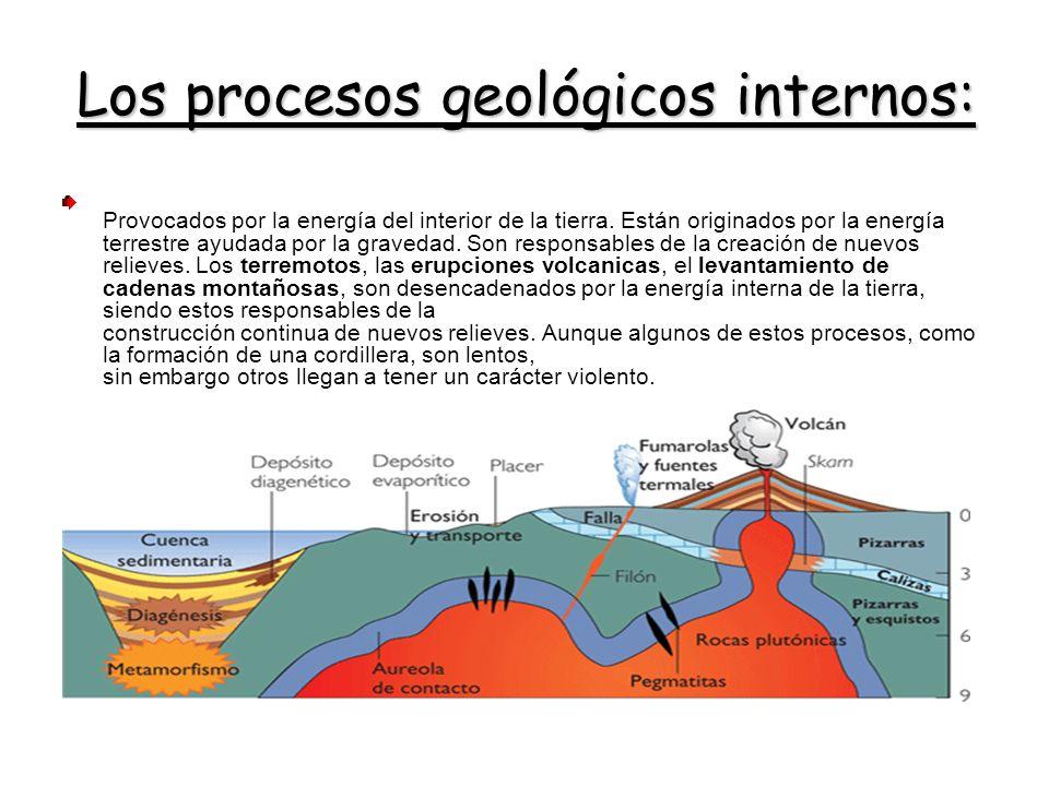 Los procesos geológicos internos: Provocados por la energía del interior de la tierra. Están originados por la energía terrestre ayudada por la graved