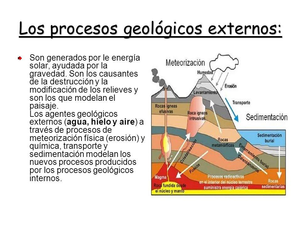 Los procesos geológicos externos: Son generados por le energía solar, ayudada por la gravedad. Son los causantes de la destrucción y la modificación d