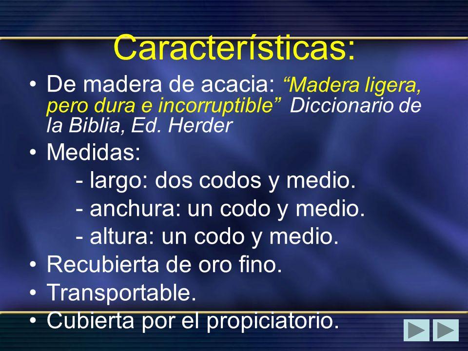 Características: De madera de acacia: Madera ligera, pero dura e incorruptible Diccionario de la Biblia, Ed. Herder Medidas: - largo: dos codos y medi