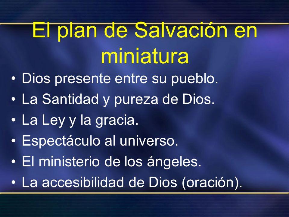 El plan de Salvación en miniatura Dios presente entre su pueblo. La Santidad y pureza de Dios. La Ley y la gracia. Espectáculo al universo. El ministe