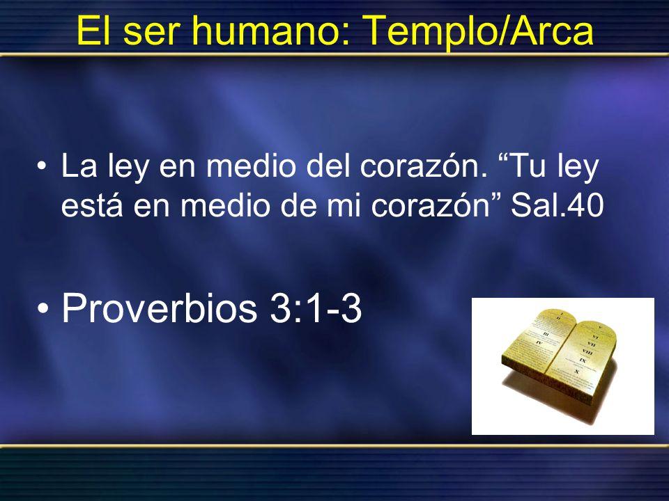 El ser humano: Templo/Arca La ley en medio del corazón. Tu ley está en medio de mi corazón Sal.40 Proverbios 3:1-3