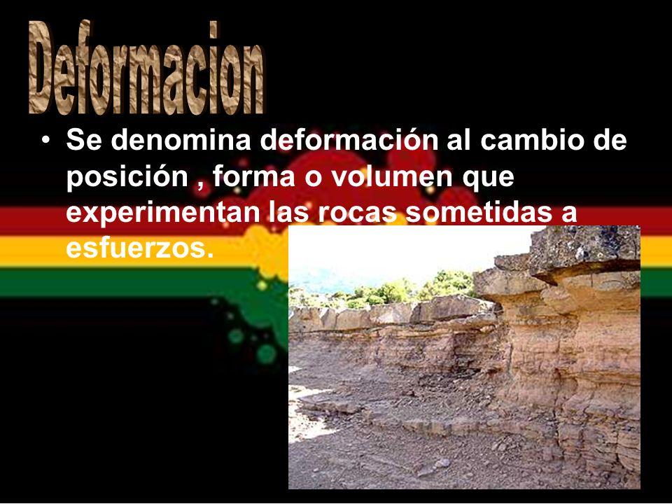 Se denomina deformación al cambio de posición, forma o volumen que experimentan las rocas sometidas a esfuerzos.
