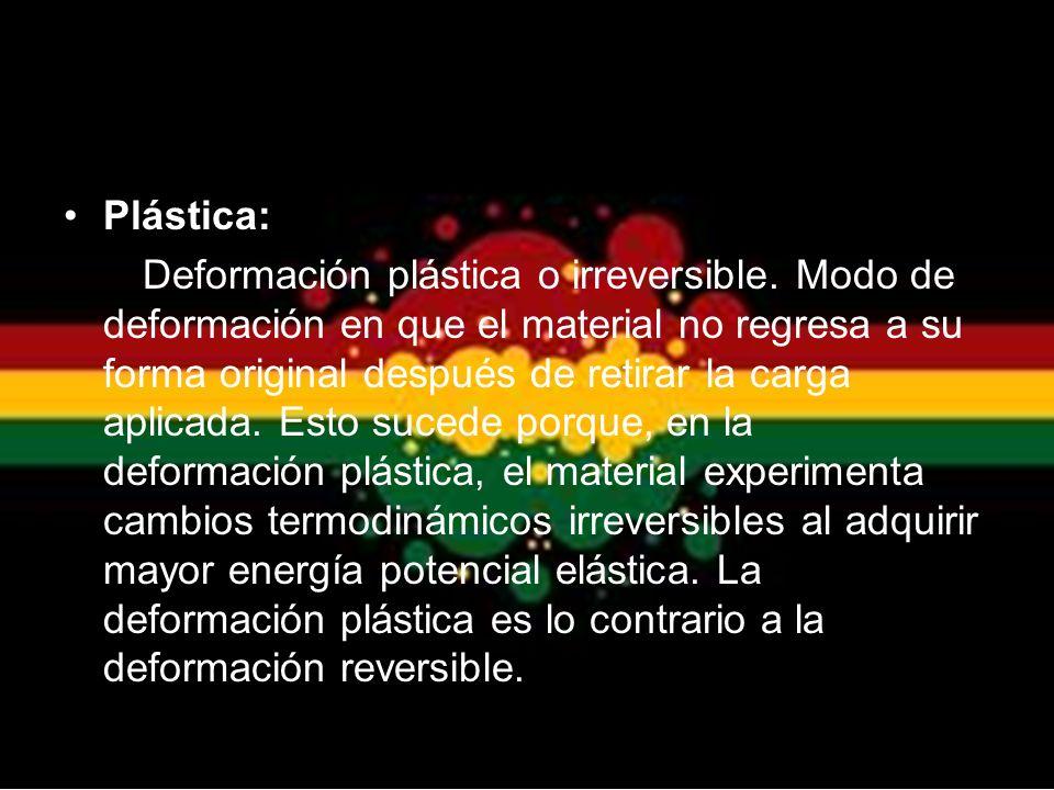 Plástica: Deformación plástica o irreversible. Modo de deformación en que el material no regresa a su forma original después de retirar la carga aplic