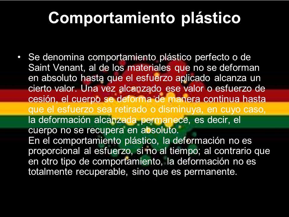 Comportamiento plástico Se denomina comportamiento plástico perfecto o de Saint Venant, al de los materiales que no se deforman en absoluto hasta que