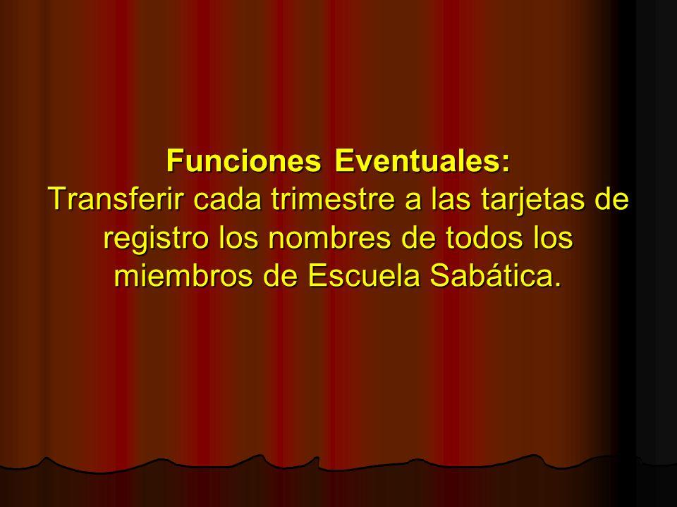 Funciones Eventuales: Transferir cada trimestre a las tarjetas de registro los nombres de todos los miembros de Escuela Sabática.
