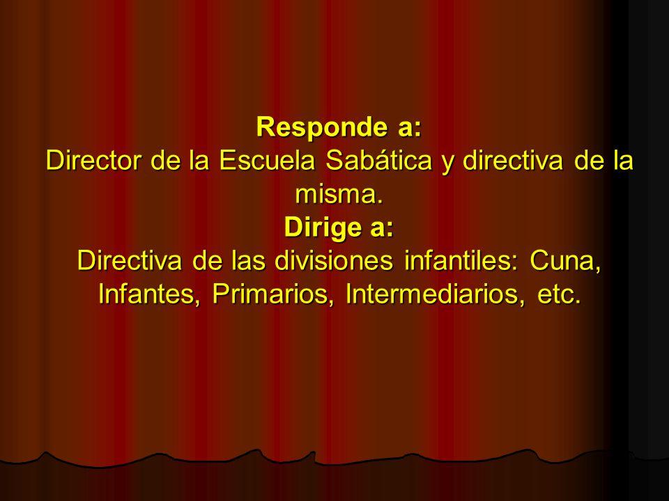 Responde a: Director de la Escuela Sabática y directiva de la misma. Dirige a: Directiva de las divisiones infantiles: Cuna, Infantes, Primarios, Inte