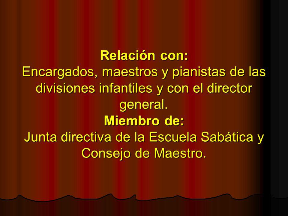 Relación con: Encargados, maestros y pianistas de las divisiones infantiles y con el director general. Miembro de: Junta directiva de la Escuela Sabát