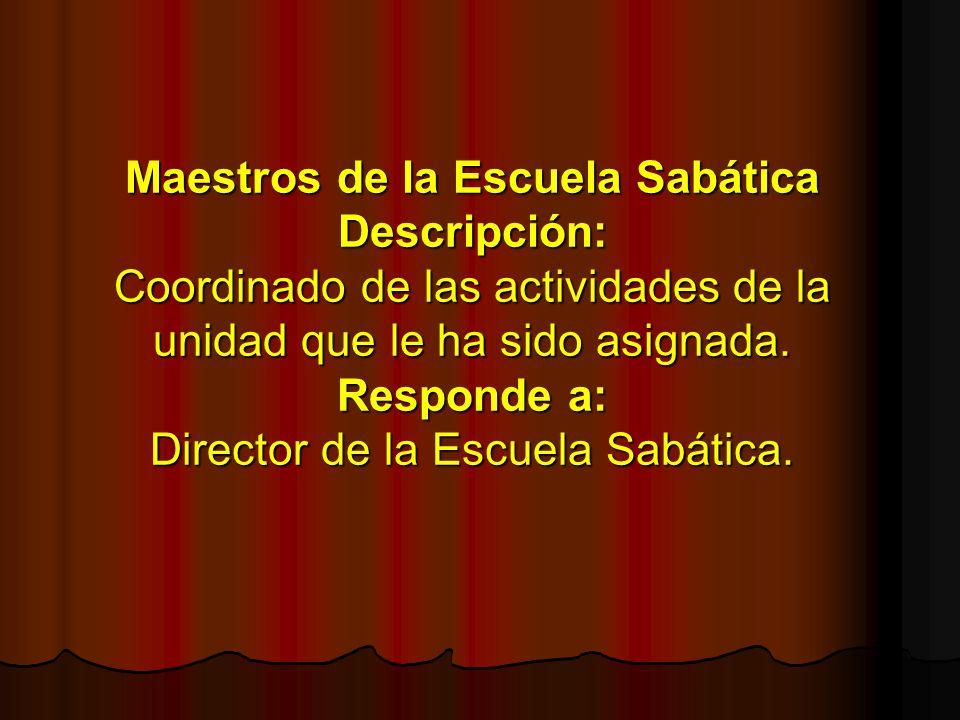 Maestros de la Escuela Sabática Descripción: Coordinado de las actividades de la unidad que le ha sido asignada. Responde a: Director de la Escuela Sa
