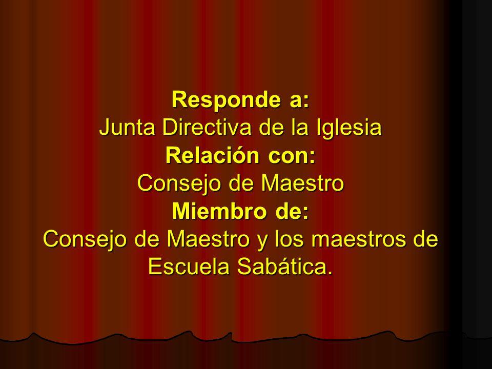 Responde a: Junta Directiva de la Iglesia Relación con: Consejo de Maestro Miembro de: Consejo de Maestro y los maestros de Escuela Sabática.