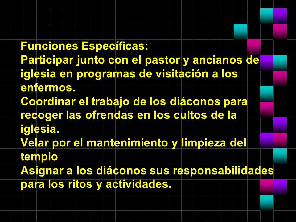 Funciones Específicas: Participar junto con el pastor y ancianos de iglesia en programas de visitación a los enfermos. Coordinar el trabajo de los diá