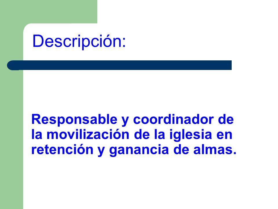 Responsable y coordinador de la movilización de la iglesia en retención y ganancia de almas. Descripción: