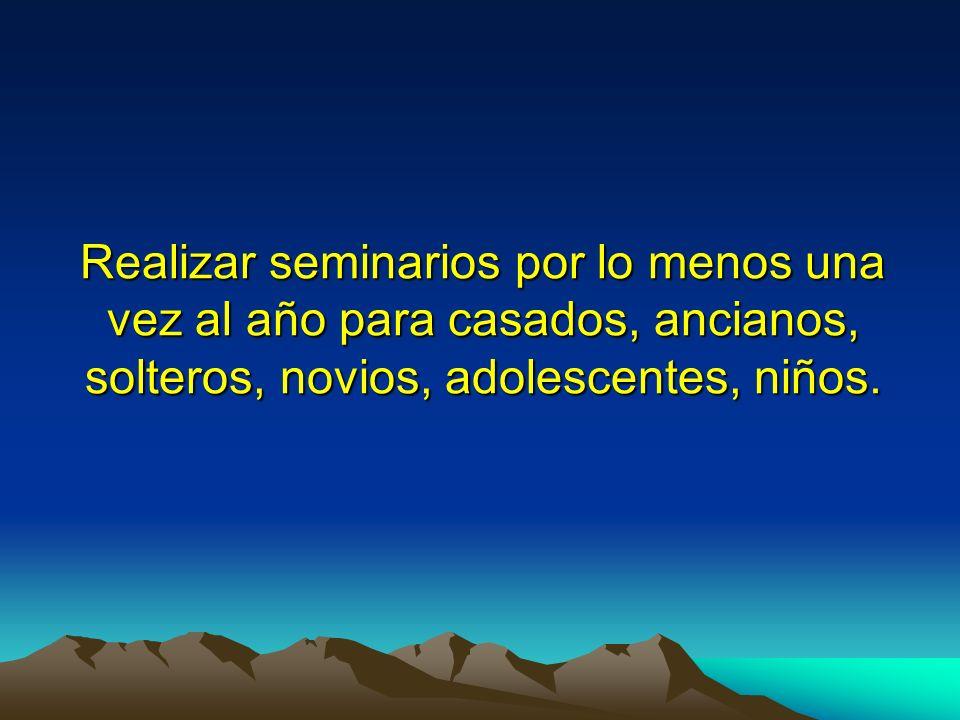 Realizar seminarios por lo menos una vez al año para casados, ancianos, solteros, novios, adolescentes, niños.